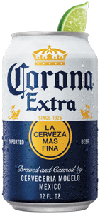 Corona Extra beer can with lime